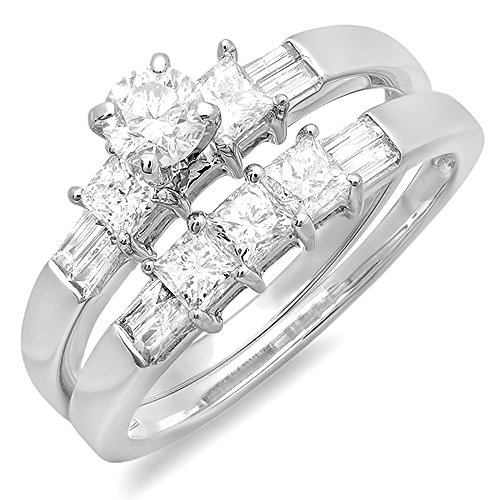 Dazzlingrock Collection 1.00 Carat (ctw) 14k Round, Princess & Baguette Cut Diamond Ladies Bridal Engagement Ring Set 1 CT, White Gold, Size 5.5