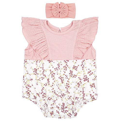 - Baby Girl Rompers Set Ruffle Sleeve Outfit Floral Cute Bodysuit with Headband Pink