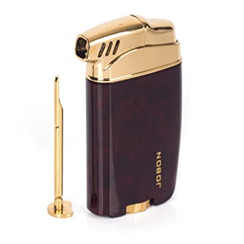 JOBON cigarette pipe butane gas metal lighter with pipe tamper (Wood Grain)