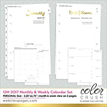 Color Crush Personal Planner 12-Month Calendar Insert-2017 Dated Week & Month