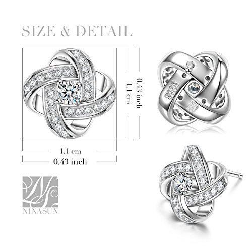 "NINASUN Fine Jewelry for Women ""Silk of Love"" Series 925 Sterling Silver Stud Earrings In memory of love"