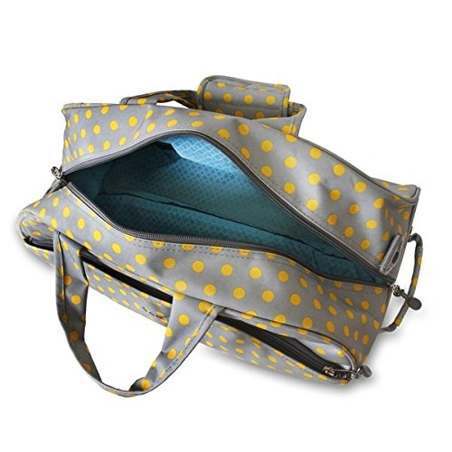 OS Single Piece Grey Polka Dot Rolling Duffel Bag, Fashion Carry On Lined, Polyester Material, Adjustable Strap, Telescoping Handle, Plenty Of Space, Attractive Style, Perfect for weekend road trip by OS (Image #3)