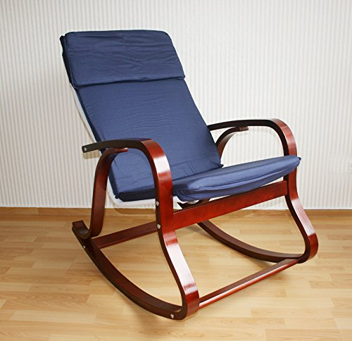Homestyle4u Balancoire A Bascule Fauteuil Relaxant Chaise Bleu