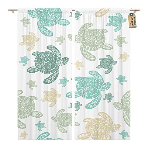 - Emvency Window Curtains 2 Panels Rod Pocket Drapes Satin Polyester Blend Blue Water Sea Turtles Colorfully Realistic Engraved on Green Abstract Living Bedroom Drapes Set 104 x 96 Inches