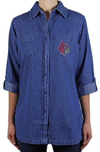 Nitro Buttons - Nitro USA NCAA Louisville Cardinals Button Roll Sleeve Tunic T-Shirt, Small, Denim
