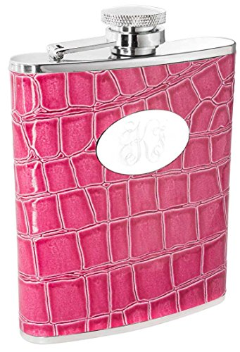 Personalized Visol Blush Pink Crocodile Leather 6oz Flask with Free Engraving