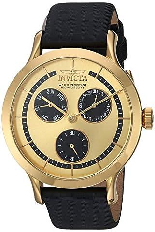 Invicta Women's 'Angel' Quartz Gold-Tone and Leather Casual Watch, Color:Black (Model: 22495) (Invicta Watch Black Leather)
