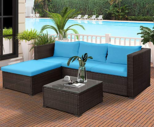 Rhomtree 3-Piece Wicker Patio Furniture Set Outdoor Rattan Sectional Conversation Set Sofas, Table, Cushioned Seats Blue Cushion