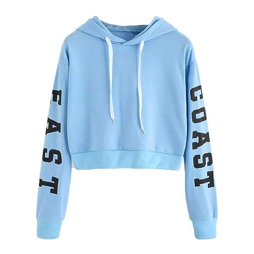 LIULIULIU❁Womens Casual Letter Print Long Sleeve Sweatshirt Jumper Pullover Blouse Blue