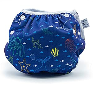 Nageuret Reusable Swim Diaper, Adjustable & Stylish Fits Diaper Sizes N-5 (8-36lbs) Ultra Premium Quality For Eco-Friendly Baby Shower Gifts & Swimming Lessons (Sea Friends)