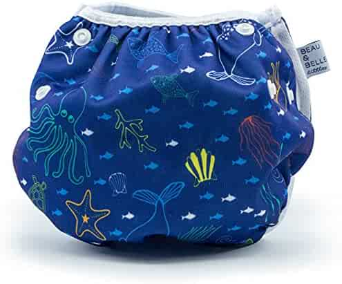 Nageuret Reusable Swim Diaper, Adjustable & Stylish Fits Diapers Sizes N-5 (8-36lbs) Ultra Premium Quality For Eco-Friendly Baby Shower Gifts & Swimming Lessons (Sea Friends)