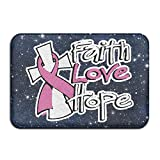 S6S/RUG Indoor/Outdoor Faith Love Hope Breast Cancer Awareness Non-Skid Door Mat Rug Toilet 23.6''x 15.7'' Entrance Rug