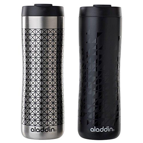Recycled Travel Mug - Aladdin Vacuum Insulated Stainless Steel Mug, 16oz, Black Cross and Black On Black