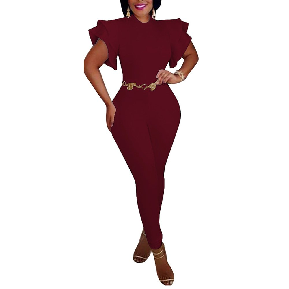 Fadvanes One Piece Bodycon Jumpsuit for Women Party Ruffle Sleeveless Solid Long Romper Pants Outfit Wine Red 2XL