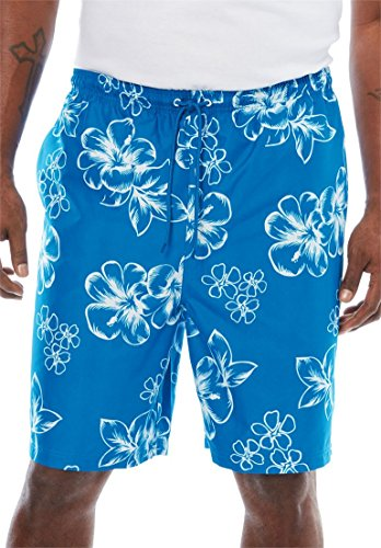 - KingSize Men's Big & Tall Hibiscus Print Trunks, Bright Blue Big-7Xl