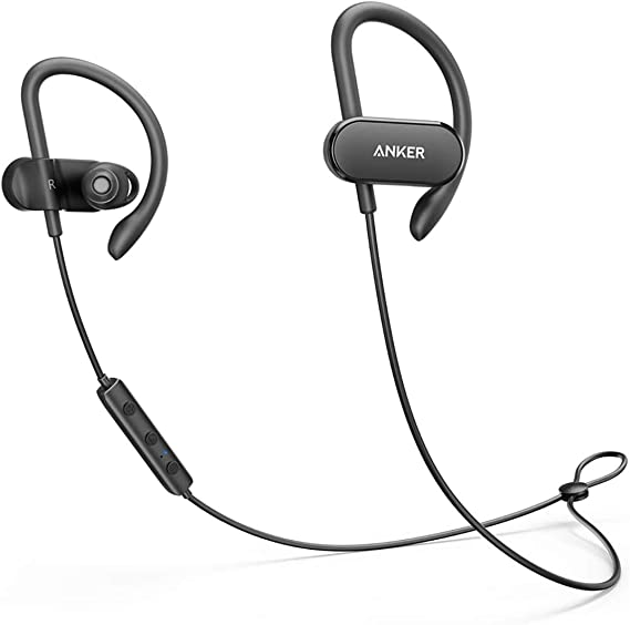 Amazon Com Upgraded Anker Soundbuds Curve Wireless Headphones 18h Battery Ipx7 Waterproof Bluetooth Headphones Bluetooth 5 0 Built In Mic And Carry Pouch Sweatguard Technology For Workout Gym Running