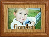 JoyceBoyce.com 5x7 GRANDSON ~ Landscape OAK Mat with Picture Frame ~ Holds a 4x6 or cropped 5x7 Photo ~ Wonderful Gift for a Grandma, Grandpa or GRANDPARENTS! (FRUITWOOD)