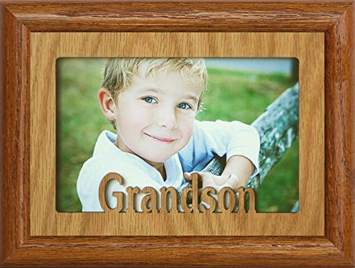 JoyceBoyce.com 5x7 GRANDSON ~ Landscape OAK Mat with Picture Frame ~ Holds a 4x6 or cropped 5x7 Photo ~ Wonderful Gift for a Grandma, Grandpa or GRANDPARENTS! (FRUITWOOD) by JoyceBoyce.com