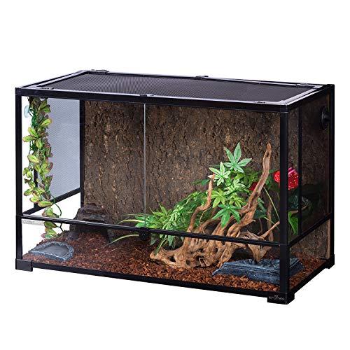 - REPTIZOO Reptile Glass Terrarium,Double Hinge Door with Screen Ventilation Reptile Terrarium 36