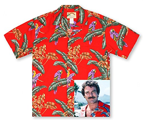 Paradise Found Mens Jungle Bird Tom Selleck Magnum PI Rayon Shirt RED (Mens Magnum)