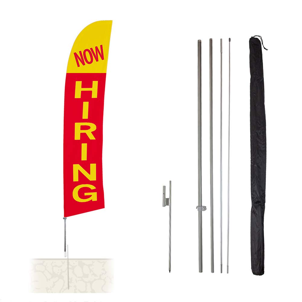 Vispronet Now Hiring Feather Banner Swooper Flag Kit - 13.5ft Swooper Flag with Pole Sets and Ground Spike - Flag Printed in The USA