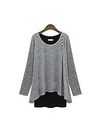 WELVT Women's Loose Casual Plus-Size Pullover Spliced Shirt Dress XL-5XL