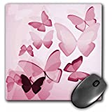 3dRose LLC 8 x 8 x 0.25 Inches Mouse Pad, Pretty Pink Transparent Butterflies (mp_101506_1)