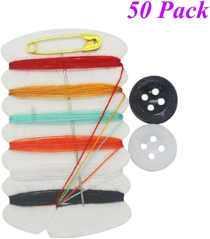 Aysekone 50 Sets Mini Sewing Kit Portable Sewing Kit Needle Thread Button Pin Set Travel Tools Kit Women Hand Sewing Bag Hotel Amenities Necessities Grooming Sewing Kit