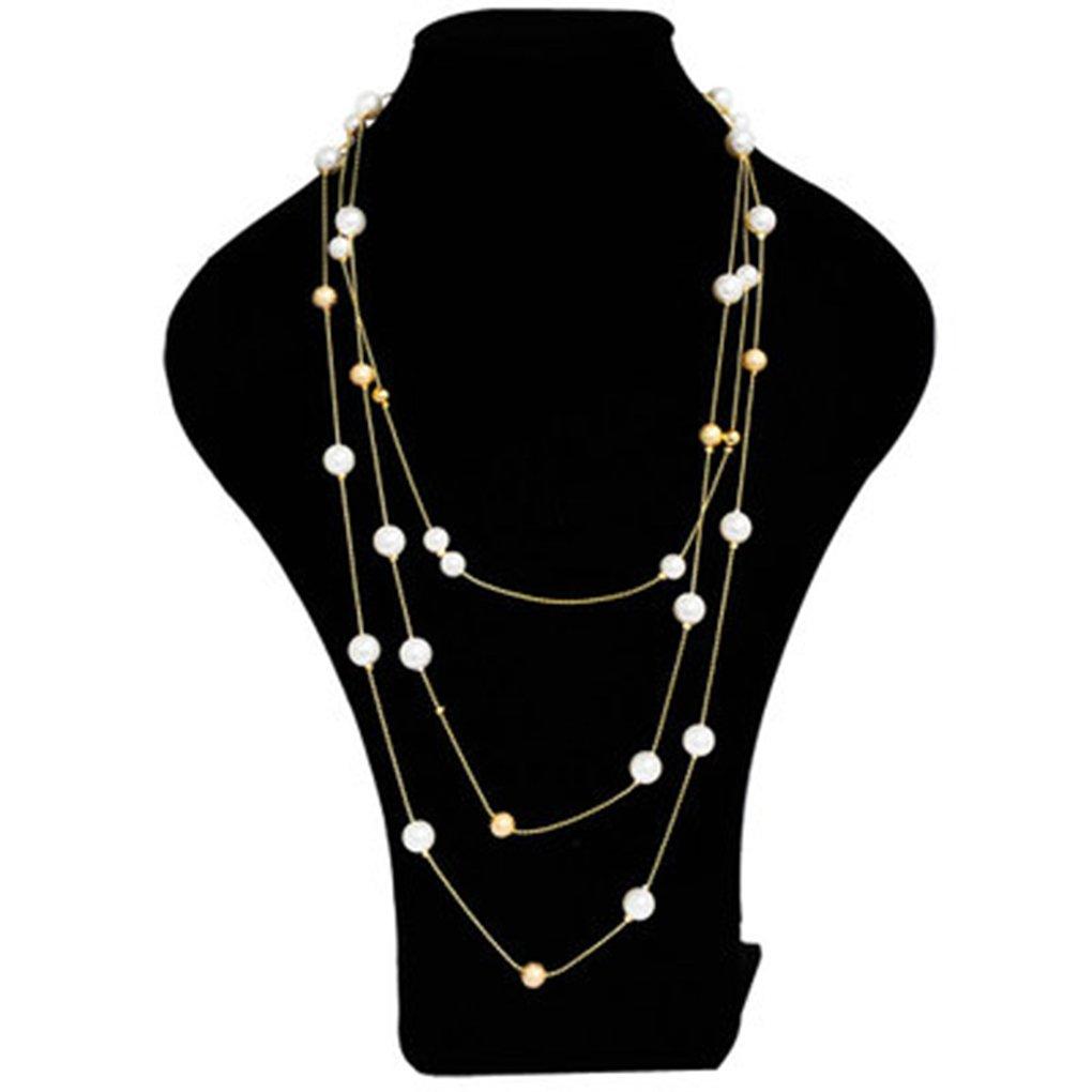 Laileya Stylish Women Multi Layer Pearl Decor Girls Sweaters Necklace Zinc Alloy Long Chains Jewelry