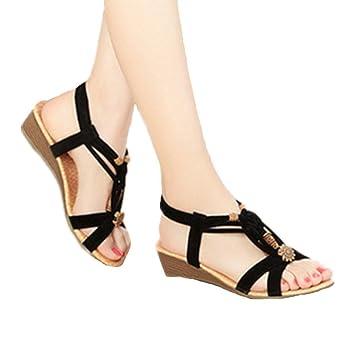 bdc4774b4f481 SupremeLife Women Bohemian Thong Sandal Meduim Heel Elastic Back Strap Clip  Toe Flats Sandals with Beads