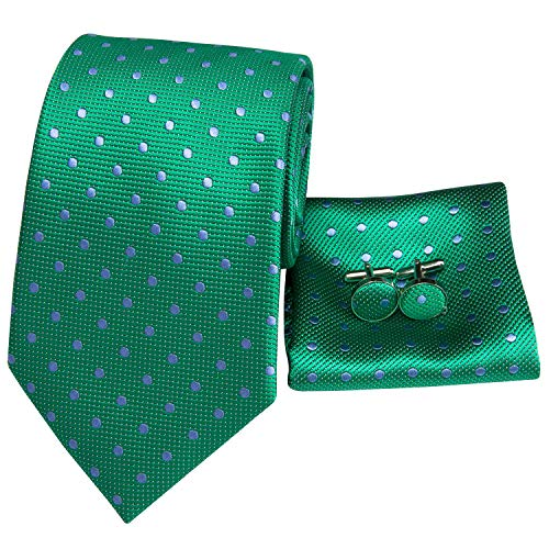 Hi-Tie Men Classic Green Polka Dots Tie Necktie with Cufflinks and Pocket Square Tie Set (Green polka dots)