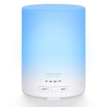 Asakuki 300 Ml Essential Oil Diffuser, Quiet 5 In 1 Premium Humidifier, Natural Home Fragrance Aroma Diffuser With 7 Led Color Changing Light And Auto Off... by Asakuki