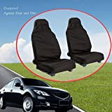 NszzJixo9 1 Pair Bench Car Seat Cover Protector - Heavy Duty Universal Waterproof Car Front Seat Covers Protector Seats - Black, Waterproof & Nonslip Backing
