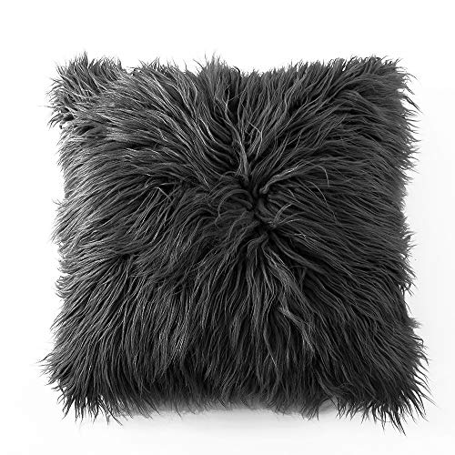 Ojia Deluxe Home Decorative Super Soft Plush Mongolian Faux Fur Throw Pillow Cover Cushion Case (18 x 18 Inch, Dark Grey)