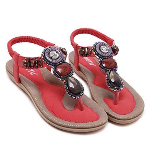 YoungSoul Chanclas de vestir mujer - Sandalias planas de piel sintetico con cuentas - Zapatos de playa verano bohemia etnicas Rojo