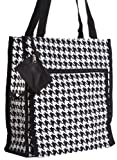 Black Houndstooth Travel Tote Bag with Coin Purse