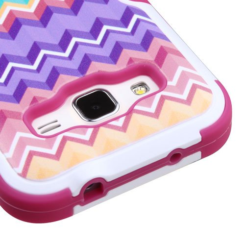 Phonelicious Rugged Armor Hybrid Kickstand Case for Samsung Galaxy Prevail Lte, Samsung Galaxy Core Prime Bundle with Screen Protector and Stylus - Corolful Chevron