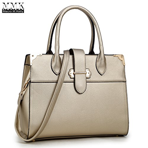 MMK collection Fashion Medium size Handbag(6347)~ Fashion Designer Satchel &Structured Purse~ClassicTote handbag~Briefcase bag (MA-126347-Gold) by Marco M. Kelly