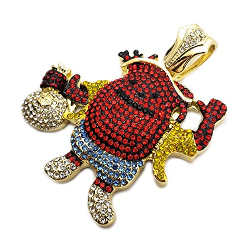 BLINGFACTORY Hip Hop Iced Out Gold Plated Kool AID Man Holding Money Bag Large Pendant