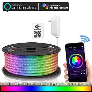 Maxonar LED Strip Lights Works with Alexa (16.4Ft / 5M) WiFi Wireless Light Strips RGB Multicolor Waterproof IP65 Smart… Seasonal Décor