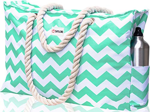 Beach Bag XXL. 100% Waterproof (IP64). L22 xH15 xW6 w Cotton Rope Handles, Top Zipper, Outside Pockets. Turquoise Green Chevron Shoulder Beach Tote has Phone Case, Built-in Key Holder, Bottle Opener