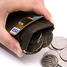 Teemzone Genuine Leather Money Clip Front Pocket Wallet with Magnet Clip Card Id Case (Brown CoinPurse)