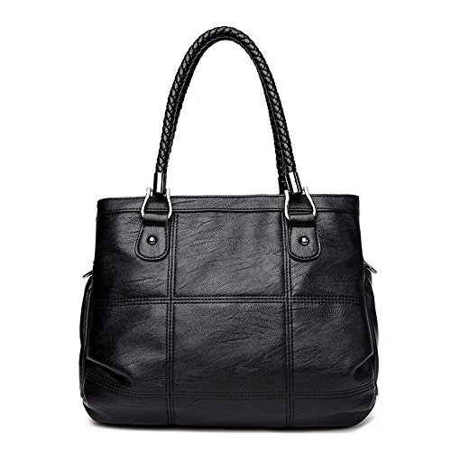 Sac à bandoulière en cuir PU pour femme, grande capacité, sacs à main noirs