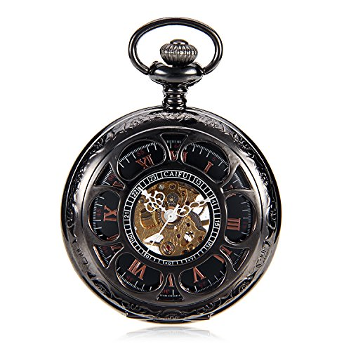(Reloj Steampunk Mens Titanium Mechanical Pocket Watch Vintage Pendant Black Pendant Watch Chain Orologio Da Tasca)