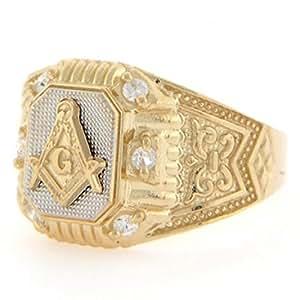 10k Two Tone Gold Masonic CZ Fancy Mens Ring Jewelry ...