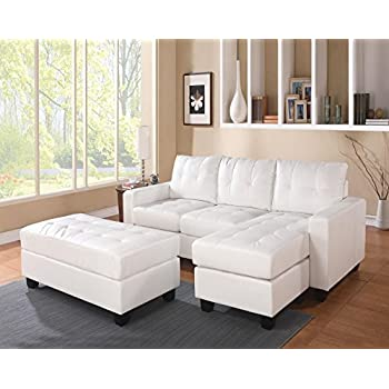 Stupendous Acme Lyssa White Bonded Leather Sectional Sofa With Reversible Chaise And Ottoman Spiritservingveterans Wood Chair Design Ideas Spiritservingveteransorg