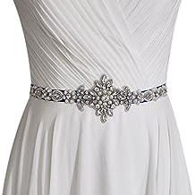 ULAPAN Women's Pearls Bridal Sash Bridal Belt Rinestones Wedding Belts Wedding Sashes,S348