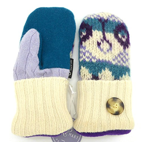 (Jack & Mary Designs Handmade Womens Fleece-Lined Wool Mittens, Made from Recycled Sweaters in the USA (Cream/Teal/Purple, Regular))