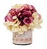 BR &Nameinternal & Designs, Inc. Features This Beautifully Arranged Mixed Magenta & Cream Hydrangea Arrangement in A Lila French Label Container