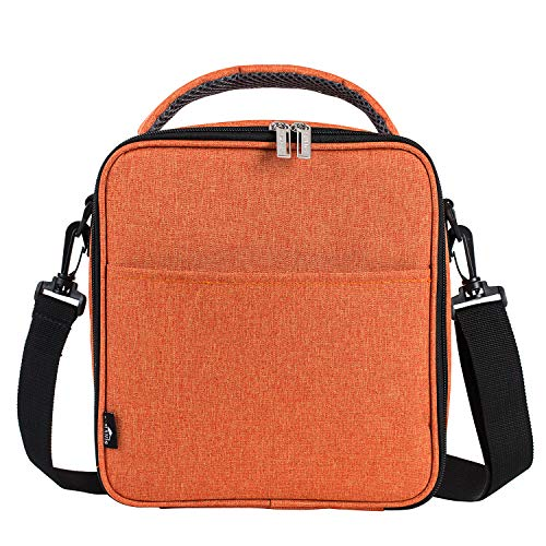 E-manis Insulated Lunch Bag Lunch Box Cooler Bag with Shoulder Strap for Men Women Kids (Orange) (Orange Lunch)